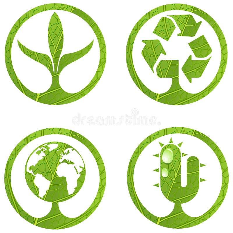 2 σημάδια συνόλου eco διανυσματική απεικόνιση