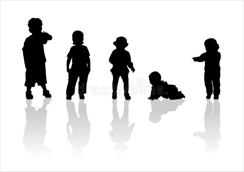 2 σκιαγραφίες παιδιών s διανυσματική απεικόνιση