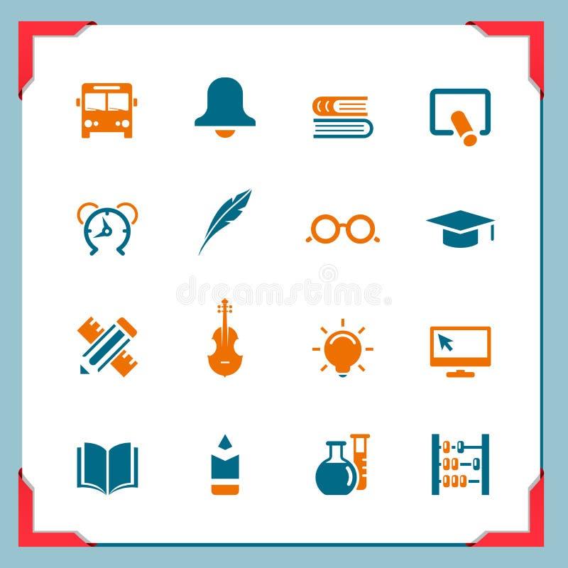2 σχολικές σειρές εικονιδίων πλαισίων διανυσματική απεικόνιση