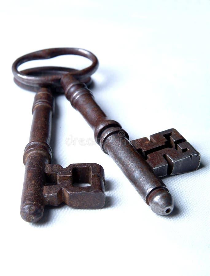 2 античных ключа викторианского стоковое изображение