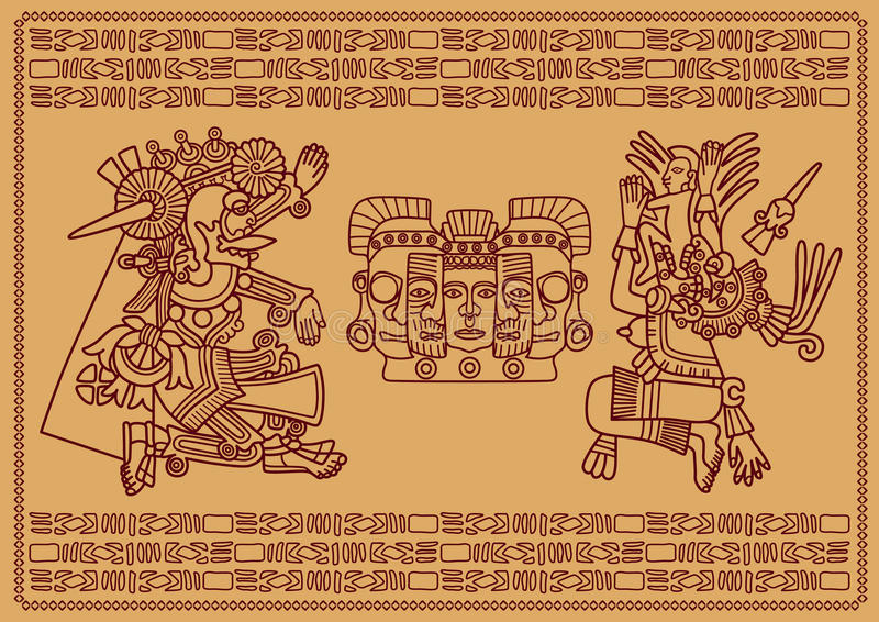 2 высших божества Mayya иллюстрация штока