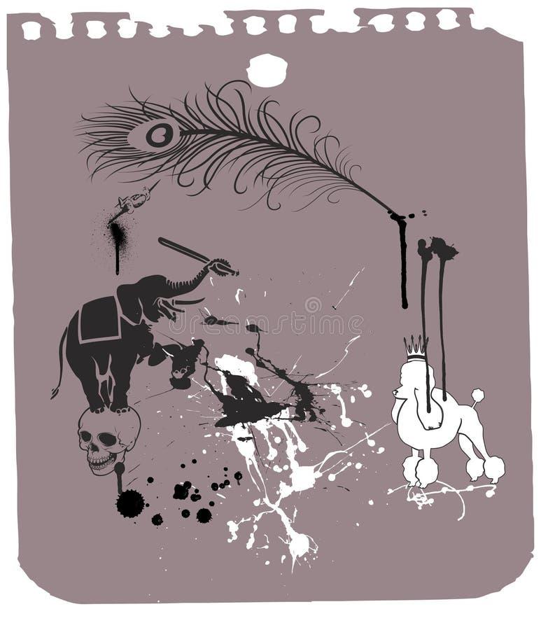 Download 2 животного выслеживают слона Иллюстрация вектора - иллюстрации насчитывающей череп, лист: 6864092