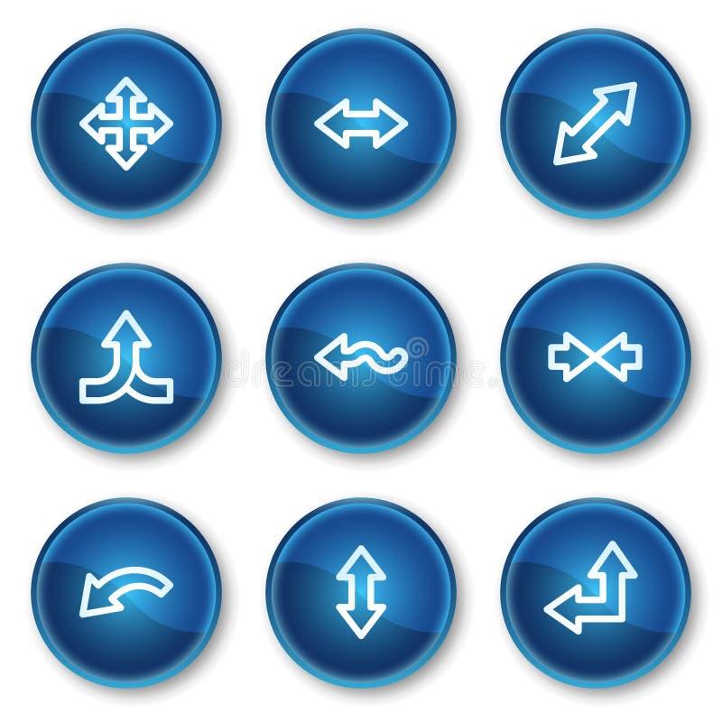 2 иконы круга кнопок стрелок голубых установили сеть иллюстрация вектора