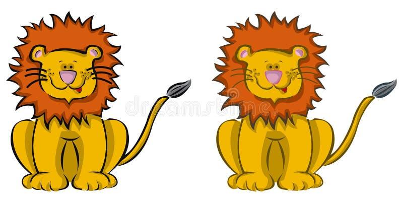 2 льва шаржа иллюстрация вектора