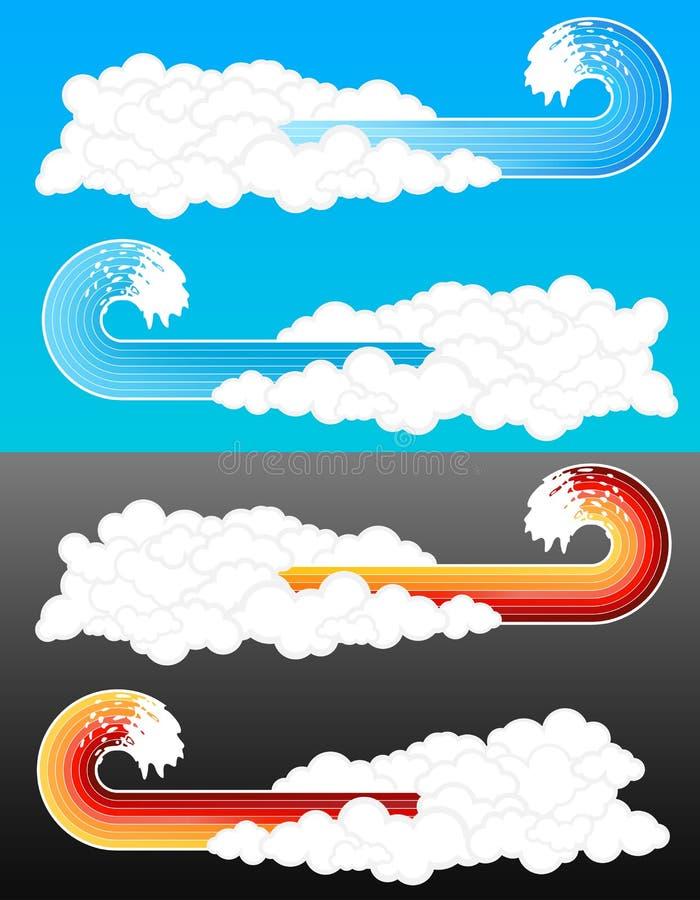 2 пасмурных элемента брызгают волну бесплатная иллюстрация