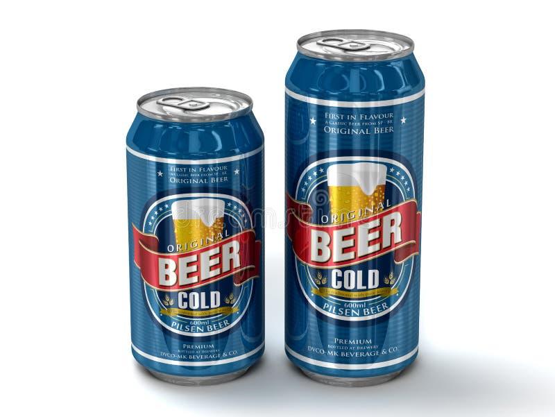 2 родовых чонсервной банкы пива иллюстрация вектора