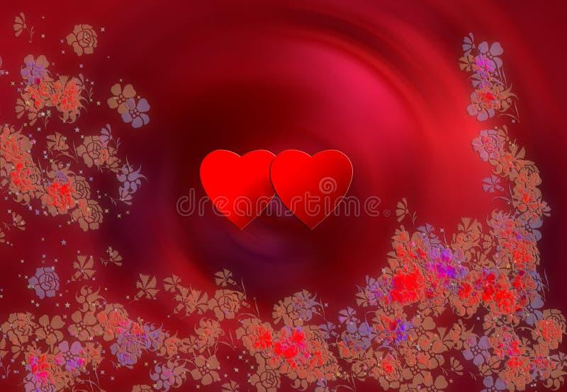 2 сердца и цветка бесплатная иллюстрация