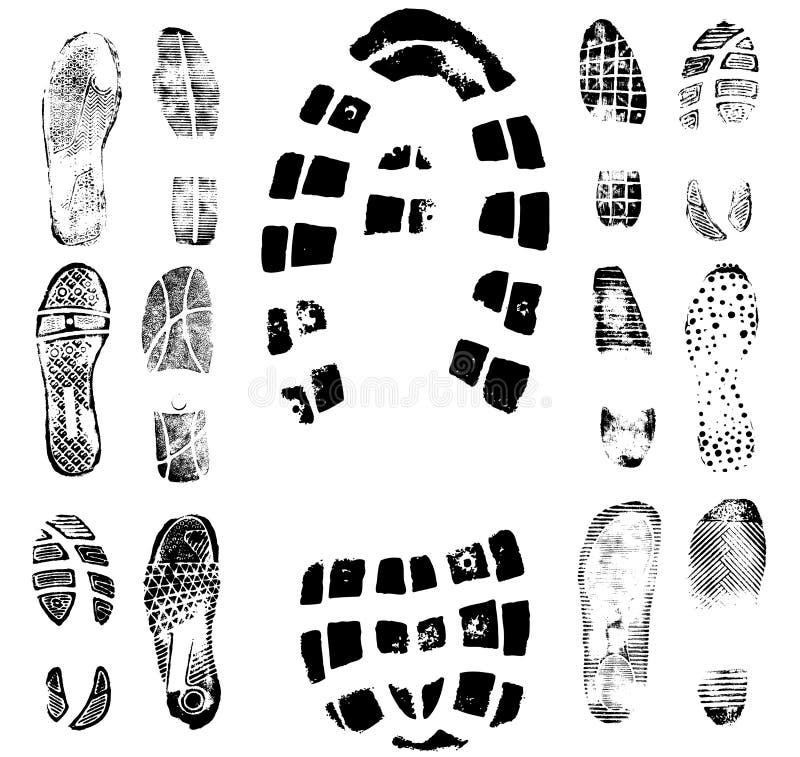 2 следа следа ноги собрания иллюстрация штока