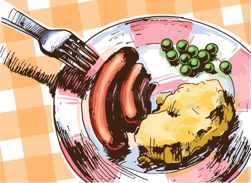 2 сосиски для обеда иллюстрация вектора