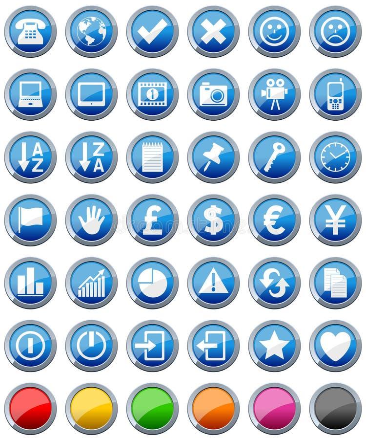 2 установленной иконы кнопок лоснистых