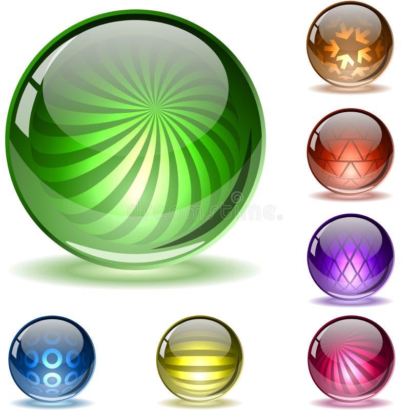 2 цветастых текстурированной сферы комплекта иллюстрация вектора