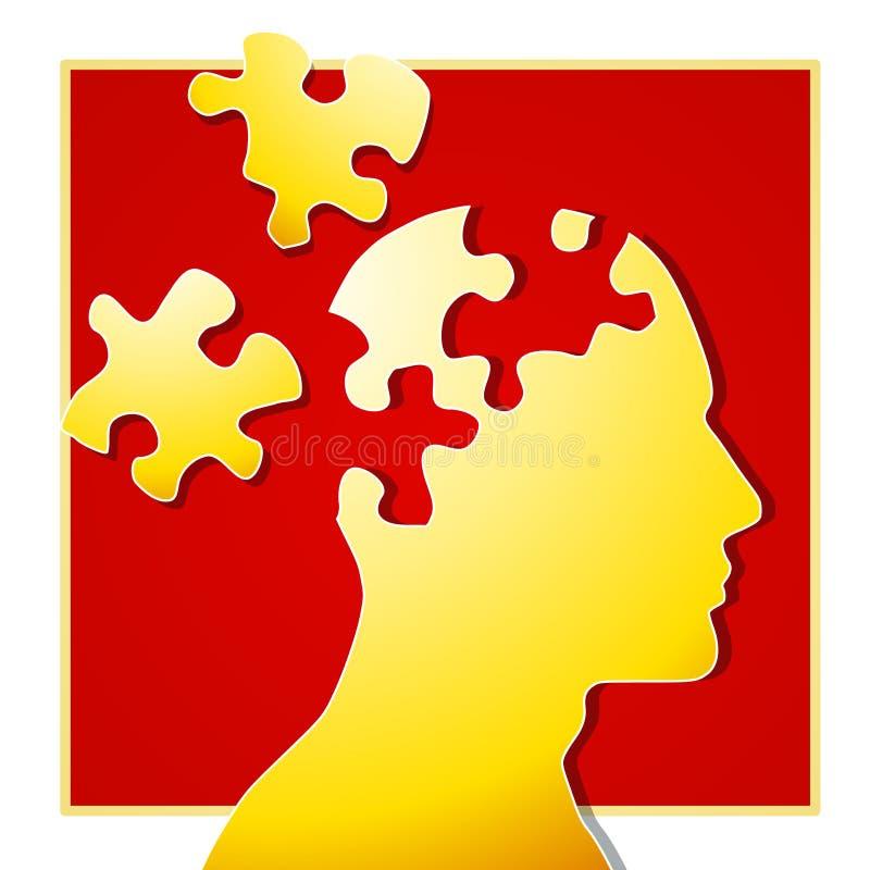 2 части психологической головоломки иллюстрация вектора