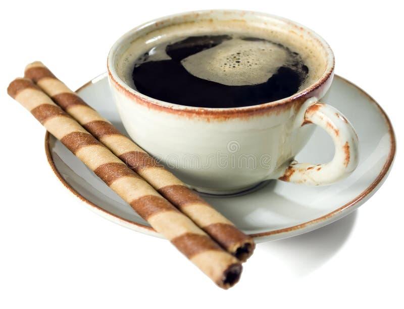 2 черных вафли кофе карамельки стоковая фотография