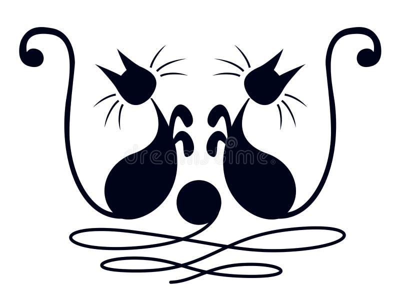 2 черных кота Стоковое Изображение