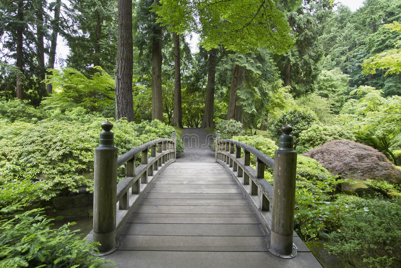 2 японца сада моста стоковая фотография