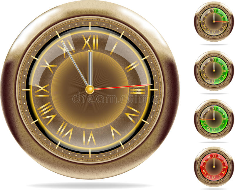 2 10个ai古铜色时钟被设置的向量 皇族释放例证