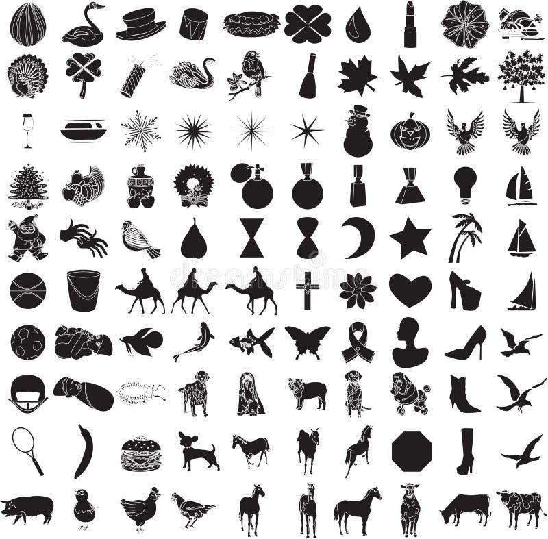 2 100个图标集 库存例证