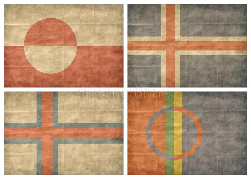 2/2 Nordic countries flags. Nordic countries retro flags isolated on white background. Greenland, Iceland, Faroe Islands, Lapland. The Nordic countries make up a vector illustration