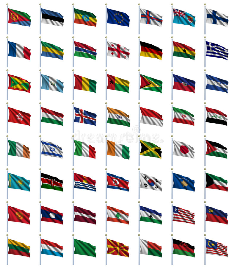 2 4 flaggor ställde in världen stock illustrationer