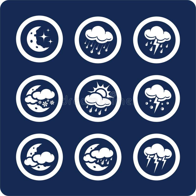 2 7 иконы разделяют установленную погоду иллюстрация вектора