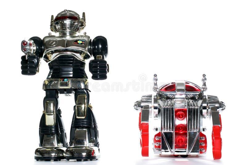 2 amici del robot del giocattolo immagine stock libera da diritti