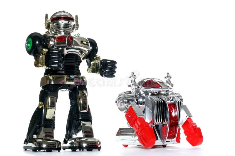 2 amigos del robot del juguete imágenes de archivo libres de regalías