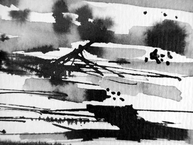 2 atramentu abstrakcjonistyczny czarny biel zdjęcia stock
