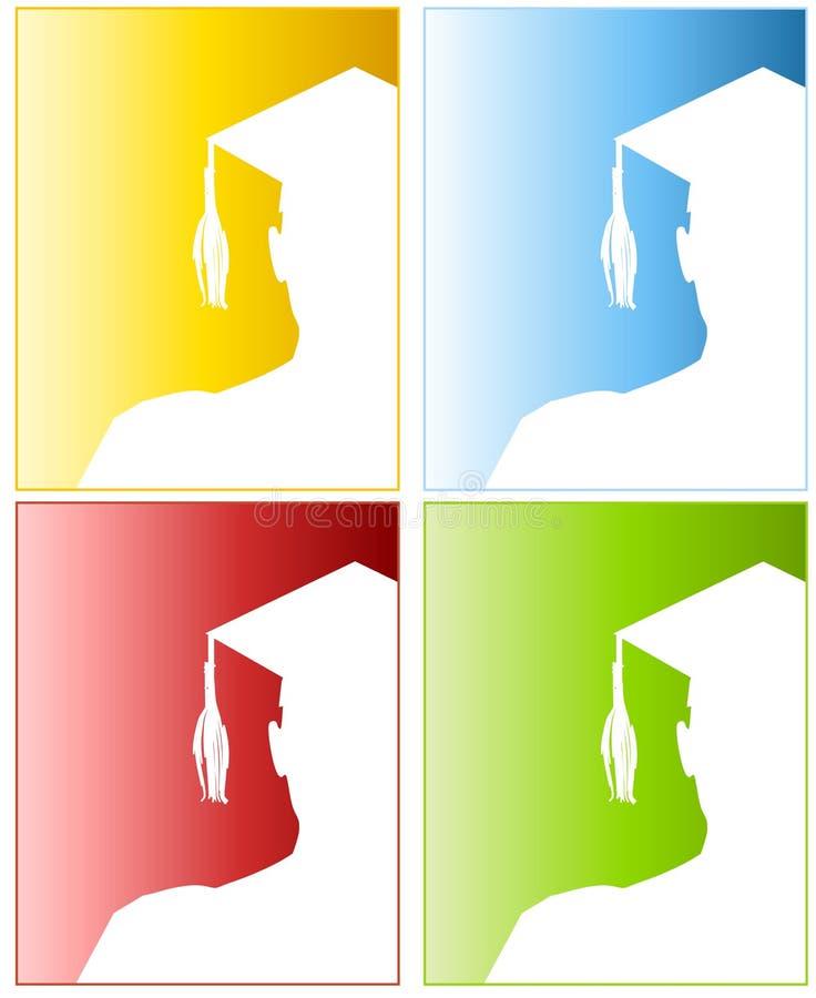 2 avläggande av examenhattsilhouettes stock illustrationer