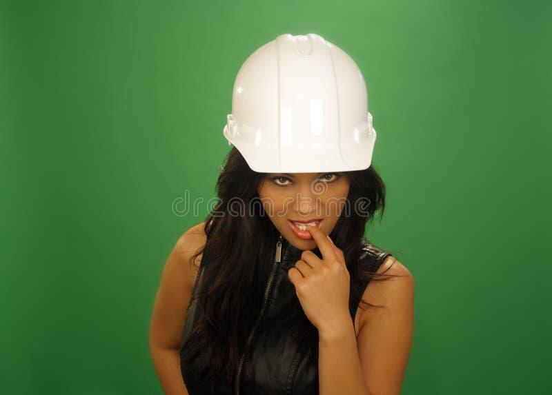 2 azjata budowy żeński flirciarski pracownik fotografia stock