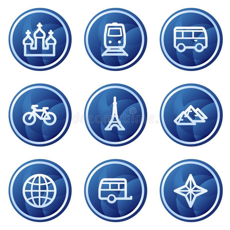 2 błękitny guzików okręgu ikon serii ustawiającej podróżują sieć ilustracja wektor