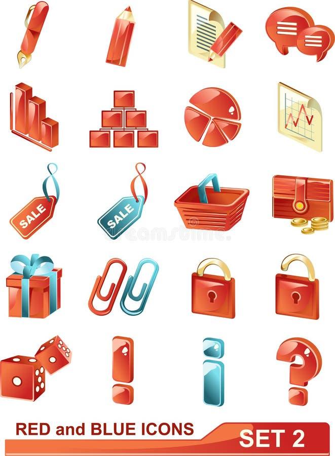 2 błękitny ikon czerwieni set zdjęcie stock
