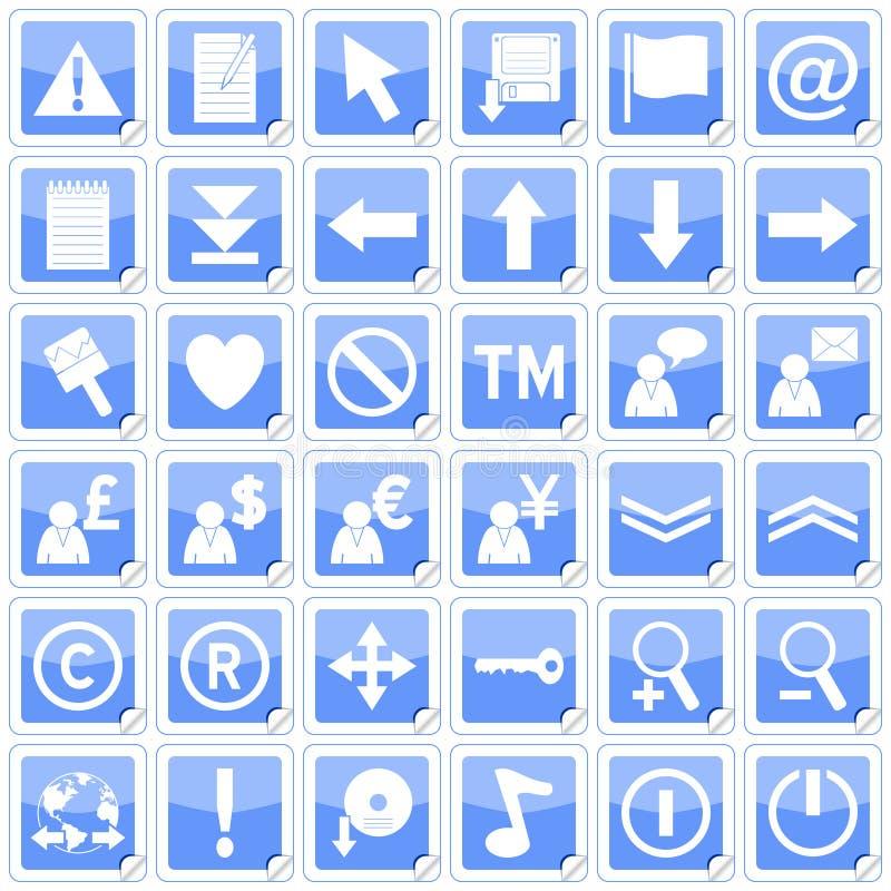 2 błękitny ikon kwadratowych majcheru ilustracji
