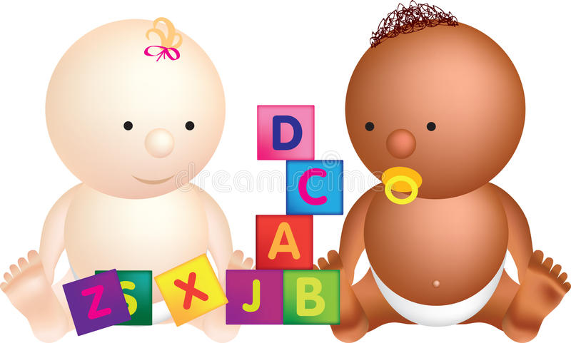 2 babies play with building blocks stock illustration