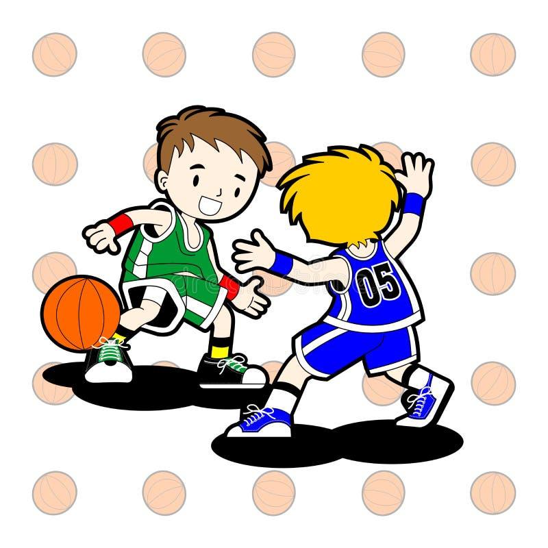 2 bambini che giocano pallacanestro royalty illustrazione gratis