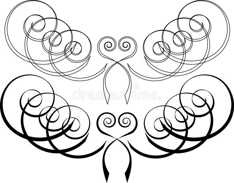 2 barwniki deseniują zwoje wyznaczonym życzenie ty ilustracja wektor