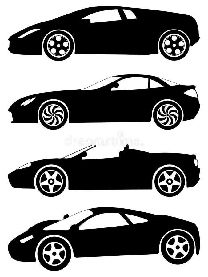 2 bilar ställde in sportvektorn royaltyfri illustrationer