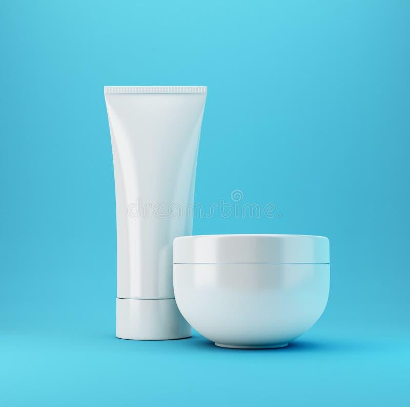 2 blåa kosmetiska produkter arkivbild