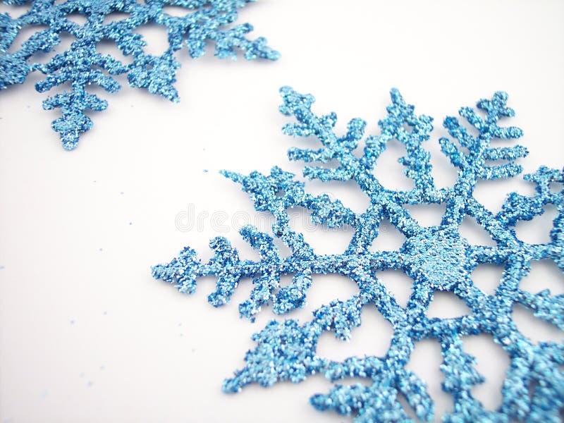 2 blåa snowflakes arkivbilder