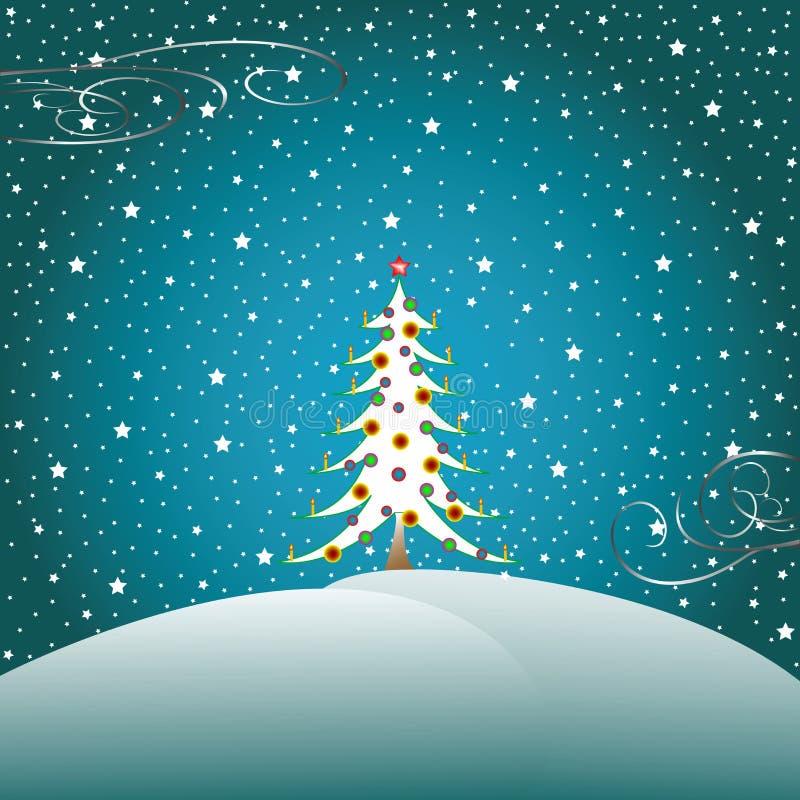 2 bożego narodzenia snow gwiazdy drzewne royalty ilustracja