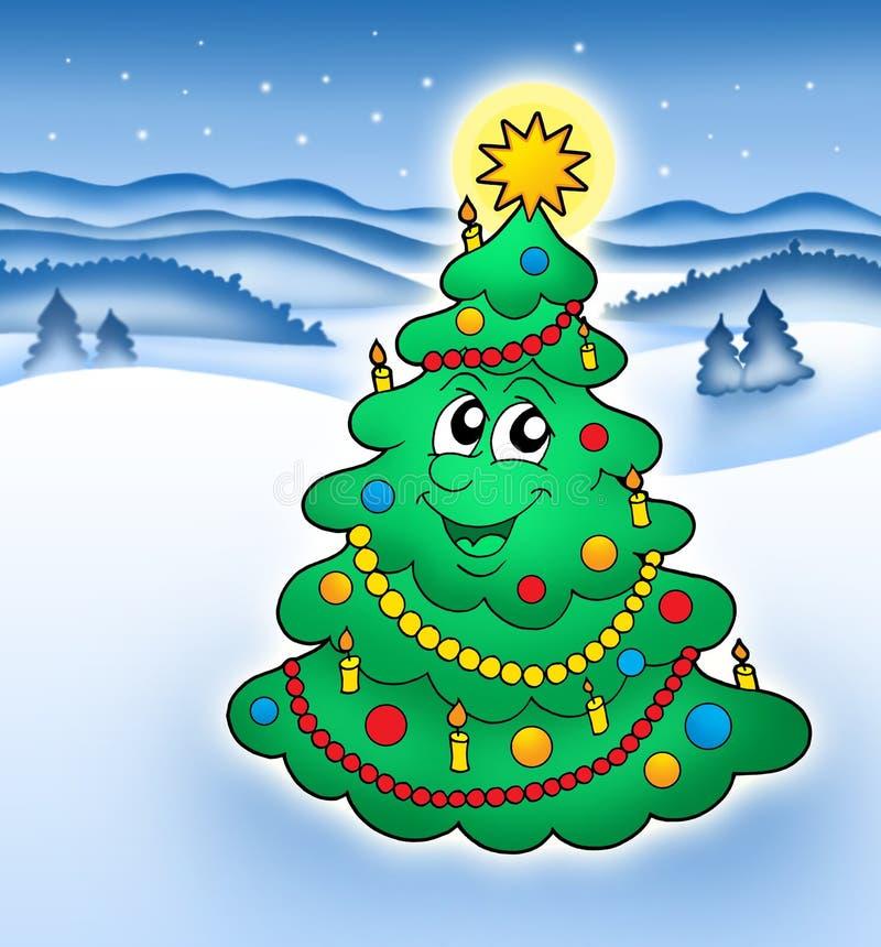 2 bożego narodzenie uśmiecha drzewa ilustracji