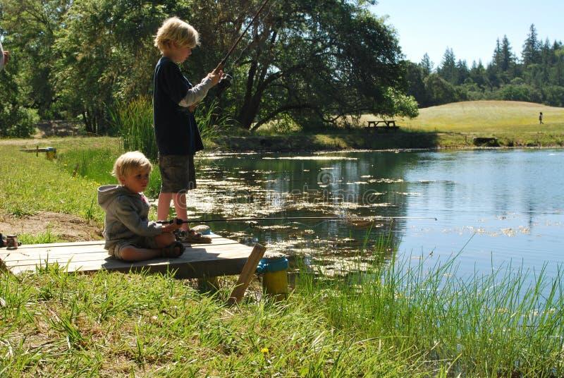 2 Boys Fishing Royalty Free Stock Photography