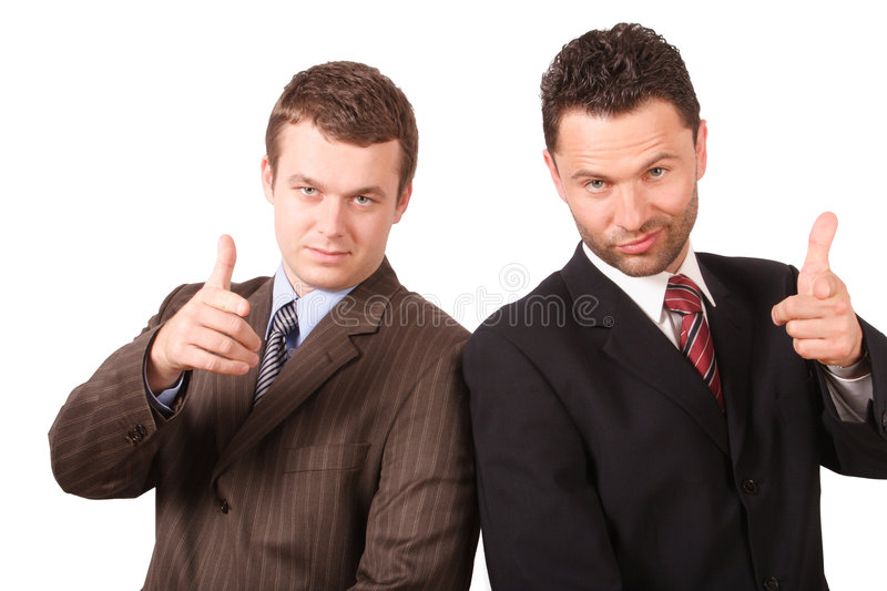 2 business men pointing at you royalty free stock photography