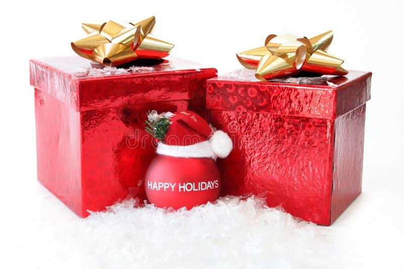 2 cadeaux de Noël photos stock