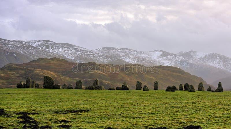 2 castlerigg okręgu kamienia zima fotografia royalty free
