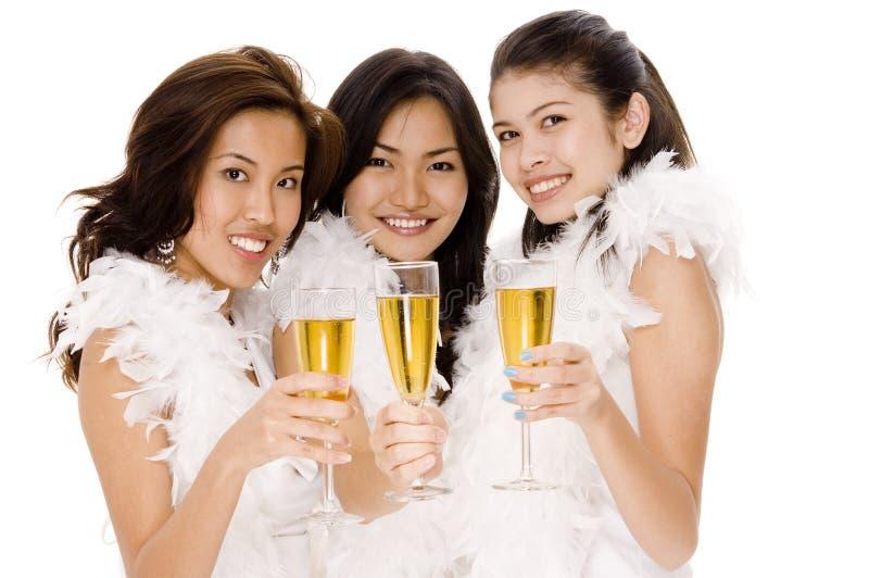 2 champagneflickor arkivbild