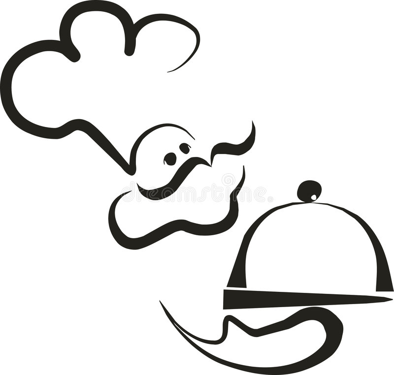 2 chef silhouette стоковое изображение