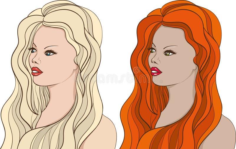 2 chicas jóvenes hermosas ilustración del vector