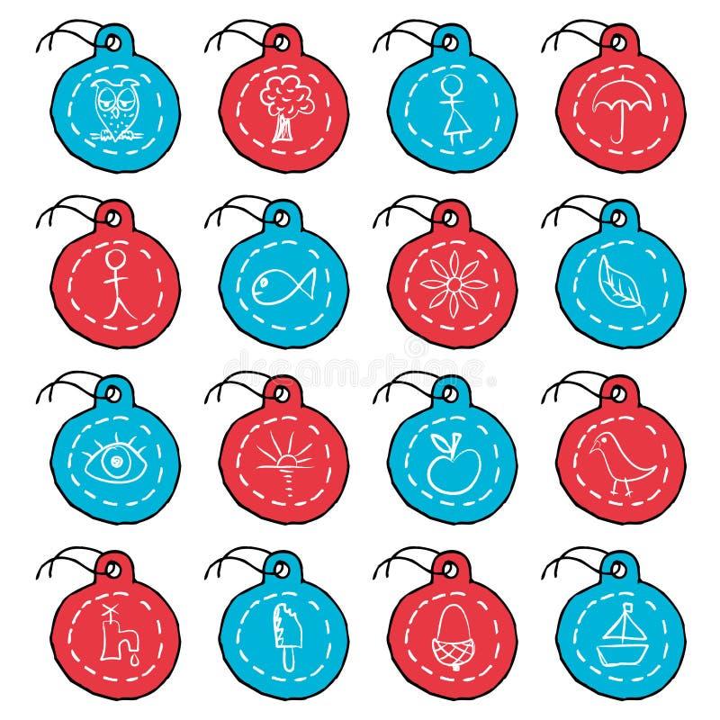 2 cirkel tecknad inställd etikett för hand symboler royaltyfri illustrationer