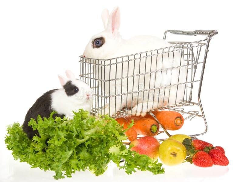 2 conejitos con el carro de compras y veggies fotos de archivo