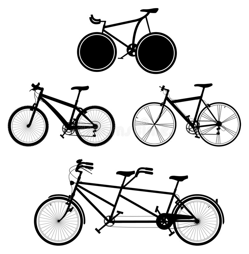 2 cyklar vektor illustrationer